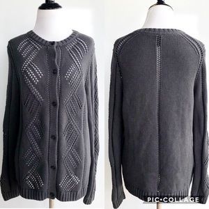 Gap Marled Charcoal Grey Button Down Cardigan